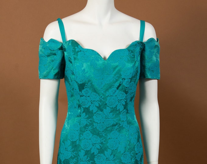 Vintage Green Dress with Allover Floral Brocade Pattern - Gown Style Formal Sheath Dress with Short Sleeves by NuMode