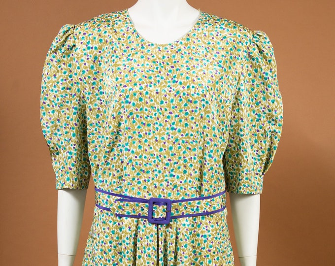 Multi-colour Floral Dress - Vintage Large Size Polyester Flower Print Pattern Summer Dress