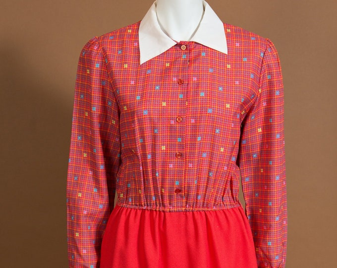 Vintage Red Dress - Long Sleeve Geometric Allover Print two tone Country Style Dress with White Collar and Red Skirt