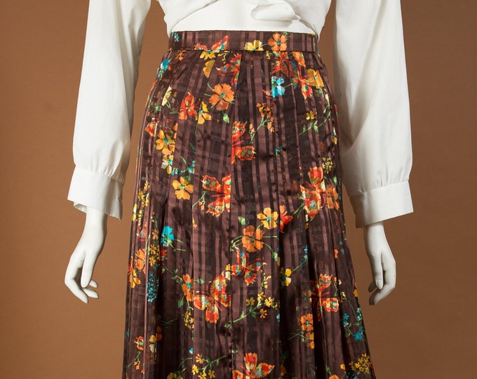 "Vintage Brown Skirt - 24"" Waist Medium Size Brown Floral Skirt - Warm Earth tone straight cut Pleated Spring or Summer Hippie Casual Skirt"