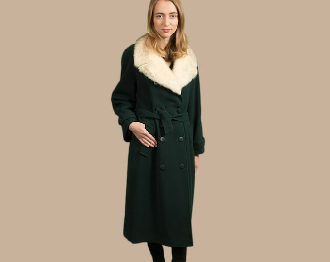 Vintage Wool and Fur Swing Coat - Forest Green Women's Ladies Long Overcoat Jacket by Novelti
