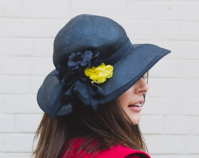 Vintage Black Hat with Yellow Flower / Ladies Small Mesh Hat by Margo's Custom Made Hats in Toronto / Fedora Brim Hat Floral Arrangement