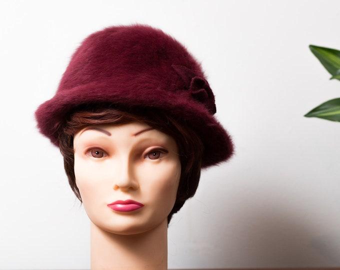 Vintage Red Fur Hat - Women's Ladies Burgundy Merlot Red Hat with Floral Accent Upturned Brim Bretton Hat