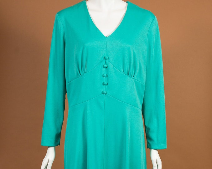 Vintage Green Dress - Gown Style Lounge Shift Dress with Long Sleeves and Scoop Neck