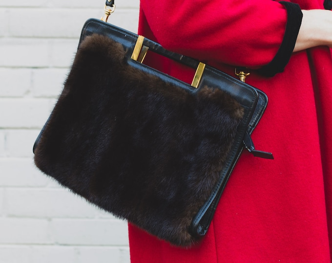 Vintage Fur Purse / Leather and Real Fur Handbag with Rectangle Handle, Zip up Closure and Gold Detailing