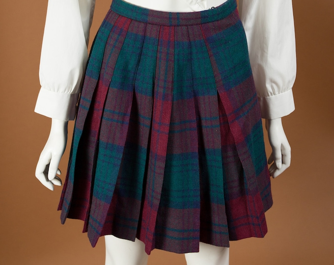 "Vintage Tartan Kilt - 25"" Waist Red and Green Plaid Checkered Wool Skirt - Spring Summer Hippie Flower Child Coachella Music Festival Skirt"