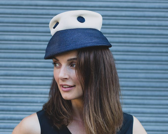 Vintage Boaters Hat / Ladies Small Medium Blue and White Nautical Sailor Fedora