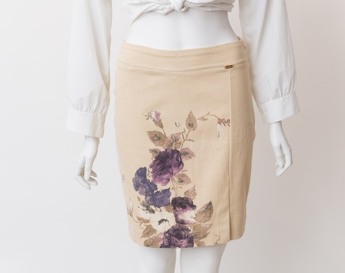 "Axara Floral Skirt - 28-30"" Spring Summer Beige Skirt with Purple Floral pattern"