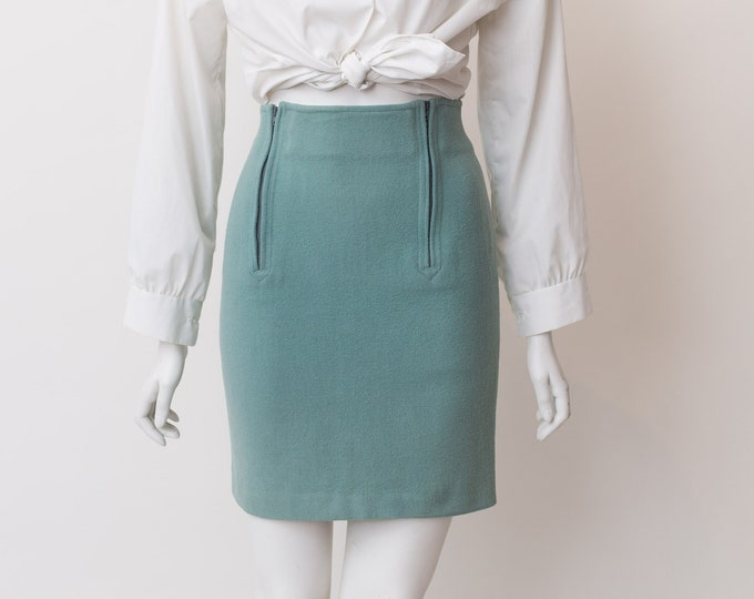 "Vintage Blue Skirt - 24"" Formal Office Wool Skirt - Soft Pastel Blue Spring or Summer Solid Simple Skater and Circle Skirt"