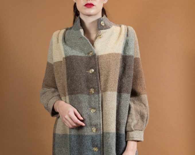 Vintage Brown Check Jacket - Ladies or Women's Long Wool Button Up Coat with earphone Plaid pattern