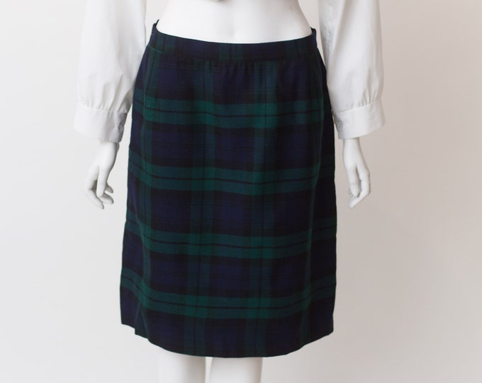 "Vintage Tartan Kilt - 30"" Waist Blue and Green Plaid Checkered Wool Skirt by Highland Queen - Spring Summer Scottish UK Skirt"