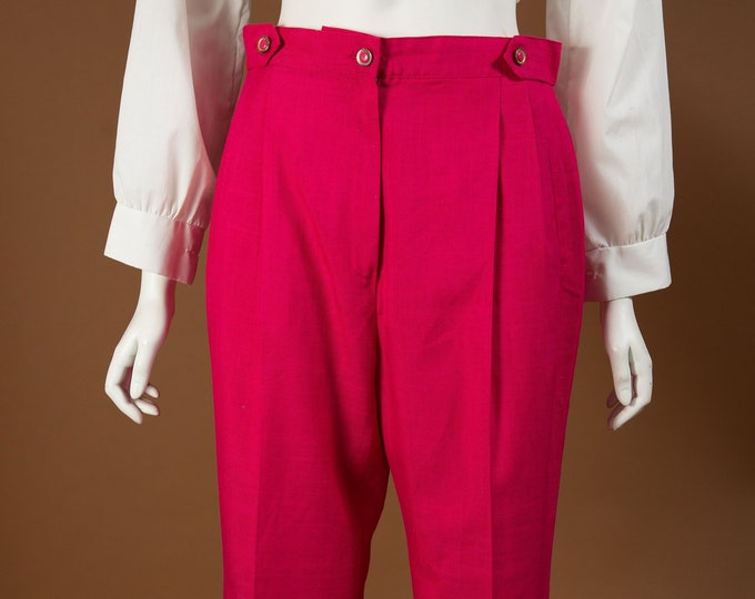 "Vintage Fuchsia Pink Pants - 28""-30"" Women's Vintage High Waisted Capri Pleated Trousers"
