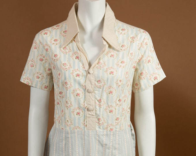 Vintage Country Dress - Short Sleeve Floral and Stripe Print two tone Western Style Dress with White Collar and Blue Skirt
