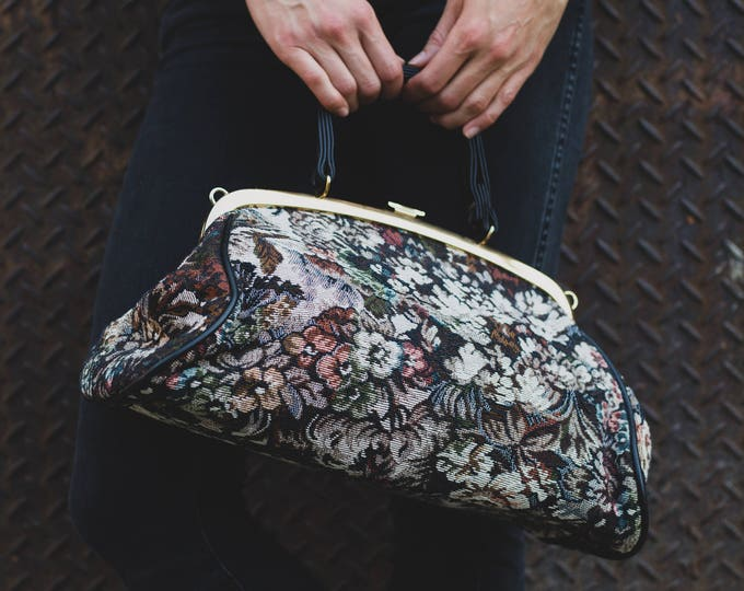 Vintage Floral Handbag / Ornate Brocade Purse or Carrying Bag with Gold Clasp / Chiltern Handbags England