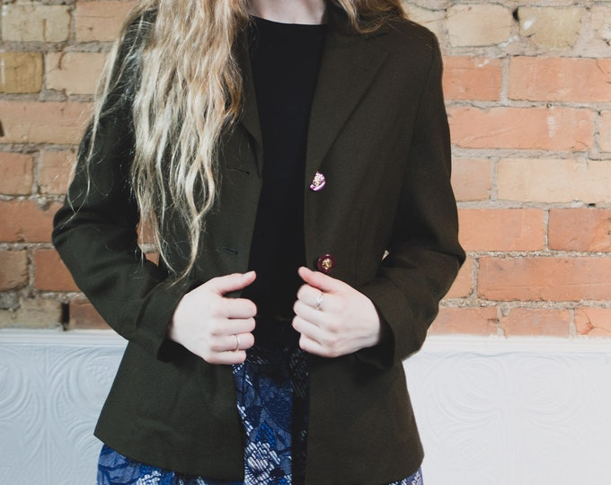 Vintage Green Blazer - Army Military Inspired Deep Green Sports Coat - Small Women's or Ladies Forest Green Business Jacket