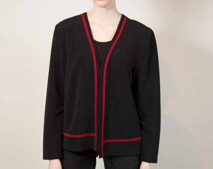 Vintage Black Jacket with Red Stripes - Medium Women's or Ladies Thin Dark Black Sweater Blazer