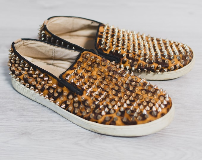 Christian Louboutin Shoes - Mens Studded Leopard Flats - Dandelion Spikes and Cheetah Print Cowhide Flats
