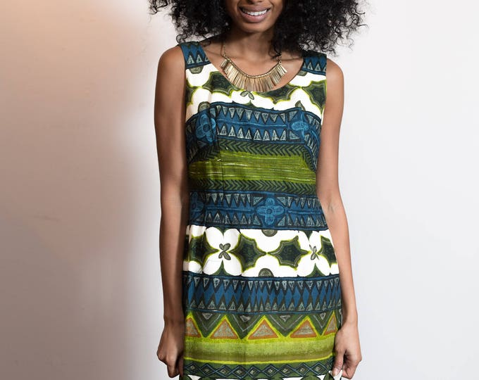 Vintage Hawaiian Dress / 60's Sleeveless Tropical Summer Dress with Bright Bold Leafy Paisley Polynesian Pattern / Keone Sportswear, Hawaii