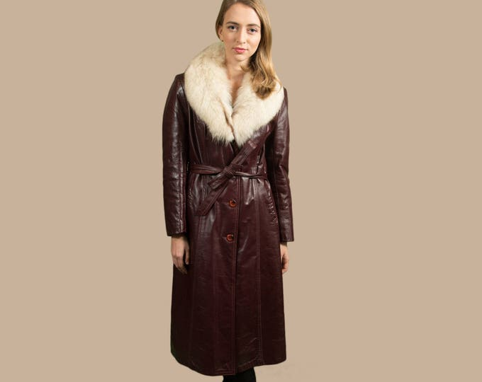 Vintage Leather and Fur Swing Coat - Merlot Burgundy Red Women's or Ladies Long Jacket by Leather Attic - Made in Canada Jacket