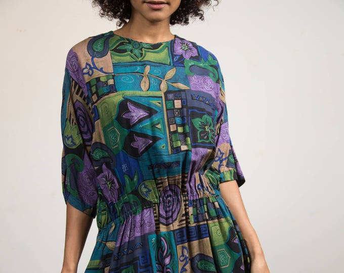 Vintage Patterned Dress - Geometric Maxi Dress with Purple, Green and Blue Pattern, Elastic Waist and Pleated Skirt