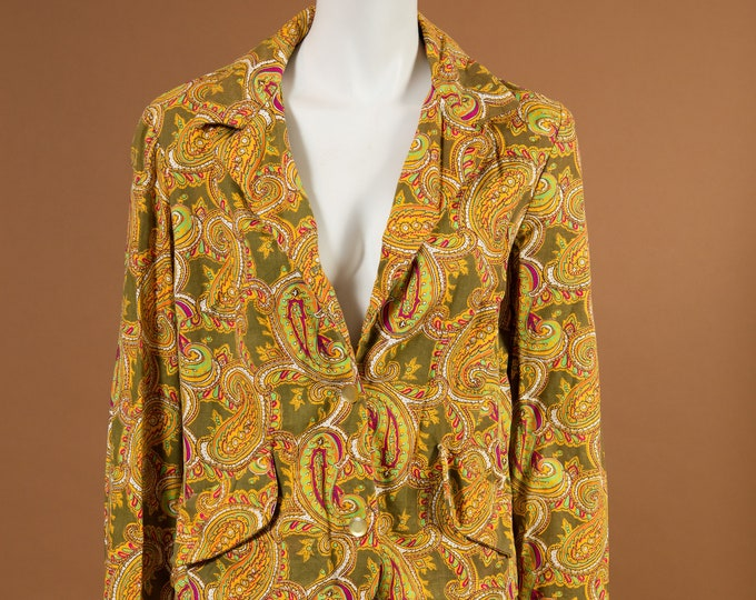 Vintage Paisley Suit - Yellow and Green Retro Suit Jacket and Matching Skirt / Southwestern Country Business Attire Office Fashion