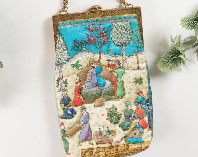 Vintage Delill Arabian Scene 60's Purse - Fabric Purse with Beaded Flowers - Ornate Hippie 50's Style Bag - Prom Purse -Mother's Day Gift