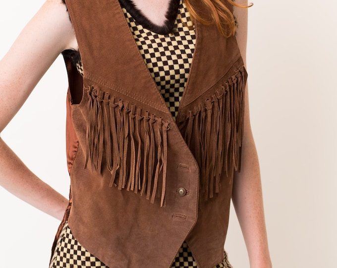 Vintage Leather Vest with Breast Fringe - 80's Medium Men's or Women's Music Festival Vest with Tassels - Sonny and Cher Hippie Style