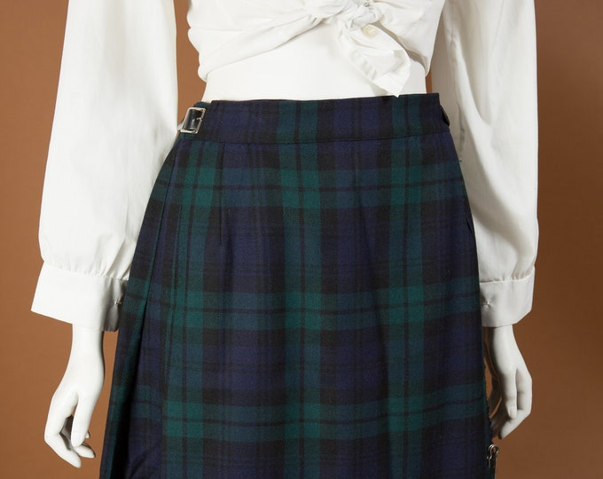 "Vintage Tartan Kilt - 28"" Waist Blue and Green Plaid Checkered Wool Skirt by Highland Queen - Spring Summer Scottish UK Skirt"