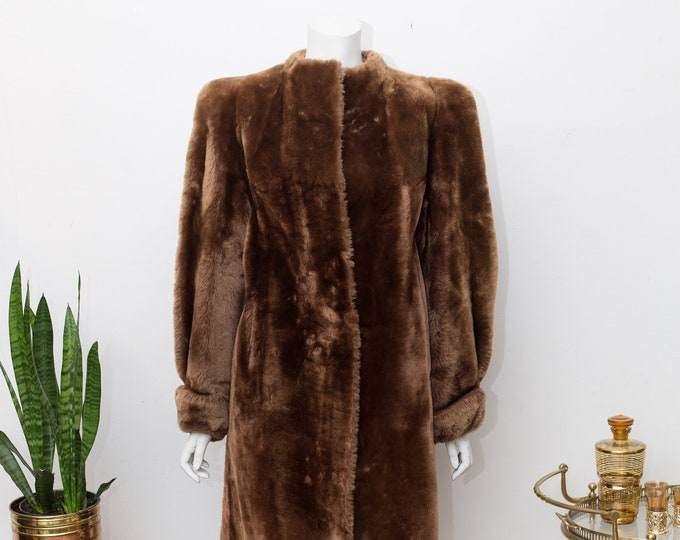 Vintage Faux Fur Coat - Long Button Up Brown Fur Jacket - Ladies or Women's Overcoat - Toronto Canada Vintage