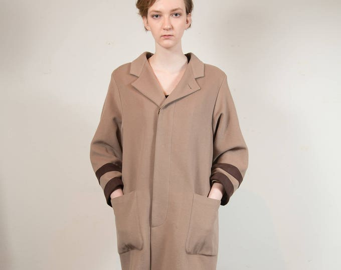 Vintage Cashmere and Wool Jacket - Large Brown Overcoat - Women's Ladies Button Up Coat - Made by Cerruti