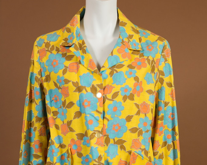 Vintage Paisley Blazer / Yellow and Green Retro Suit Jacket / Southwestern Country Fashion