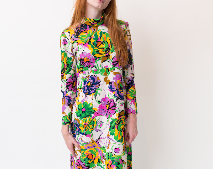 Vintage Hawaiian Dress - Small size 60's Long Sleeve Tropical Summer Dress with Bright Bold Floral Florescent Pattern Green, Purple Aloha