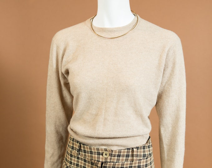 Vintage Beige Sweater - Small Size Soft Coloured Wool Blend knit Pullover - Spring or Autumn Ladies / Women's Sweater