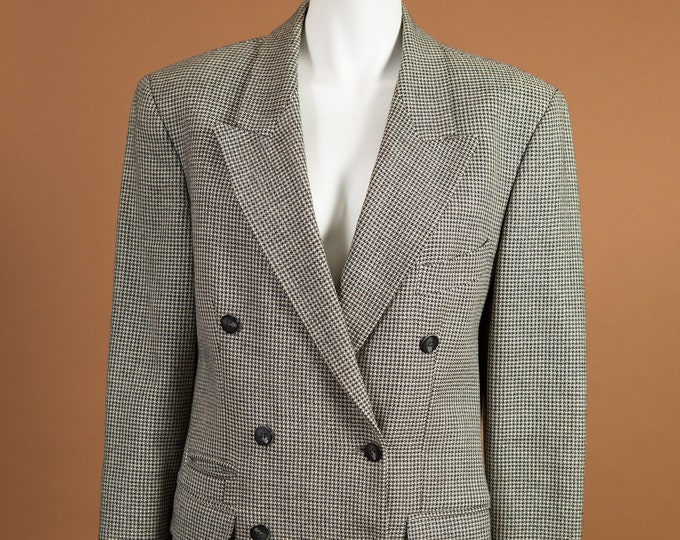 Vintage Houndstooth Blazer - Medium Size Women's or Ladies Black and Grey Sports coat - Office Casual Business Suit