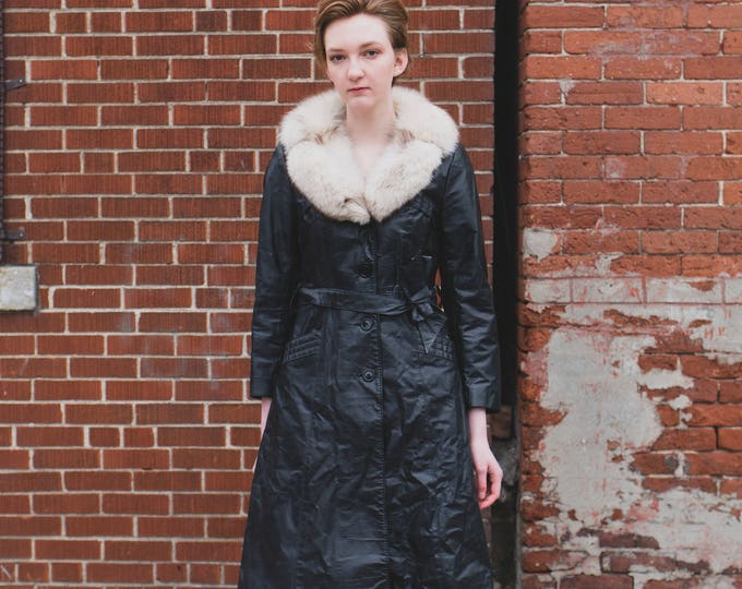 Vintage Leather and Fox Fur Swing Coat - Small Black Women's or Ladies Long Jacket by Jonathan Christopher - Made in Canada