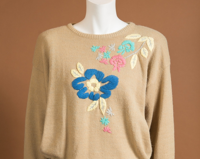Vintage Beige Sweater - Small Size Soft Tan Coloured Wool Blend knit Pullover with Flowers - Spring or Autumn Ladies / Women's Sweater