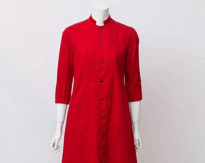 Handmaid's Tale Halloween Costume - 60's Vintage Red Button Up Long Gown / Rajneesh Robe / Jacket with White Ruffled Neck