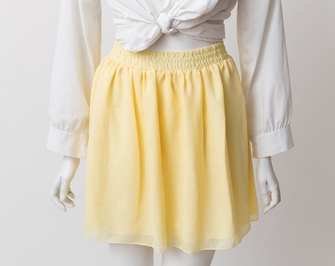Pale Yellow Skirt - Short Cut Pleated Skater and Circle Spring Summer Pastel Skirt with Stretchy waist