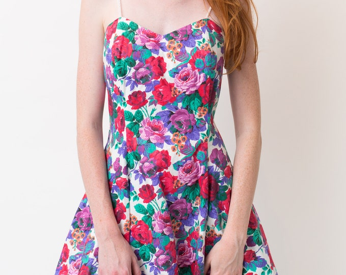 Vintage Prom Dress - Small size Sleeveless Floral Ornate Summer Dress with Bright Bold Flowers - A-line fit and flare Short Formal Dress