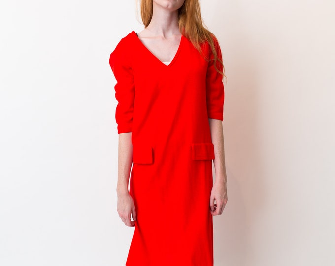 Vintage Red Dress - Wool Blend Autumn Dress - Mod Bright Red Dress
