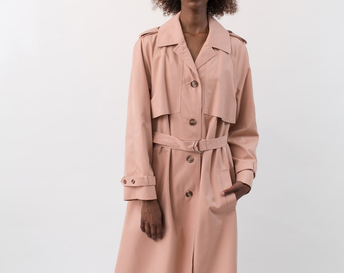 Vintage Dusty Rose Overcoat - Burberry Style Rain Pink Jacket - Salmon Coloured Ladies or Women's Long Spiral Autumn Coat Belt