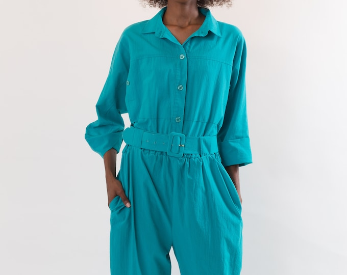 Vintage Green Jumpsuit - 1980's Ocean Green Romper - Belted Onesie Made in Canada by Mr. Max