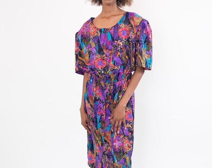 Vintage Floral Dress - 1980's Medium Scoop Neck Purple Summer Dress with Iridescent Shine