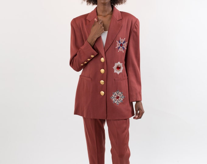 Vintage 2-piece Suit - Women'sRust Coloured Boho Jeweled Jumpsuit withWith Gems, Gold Buttons and High Waisted Copper Pants Bedazzled Blazer