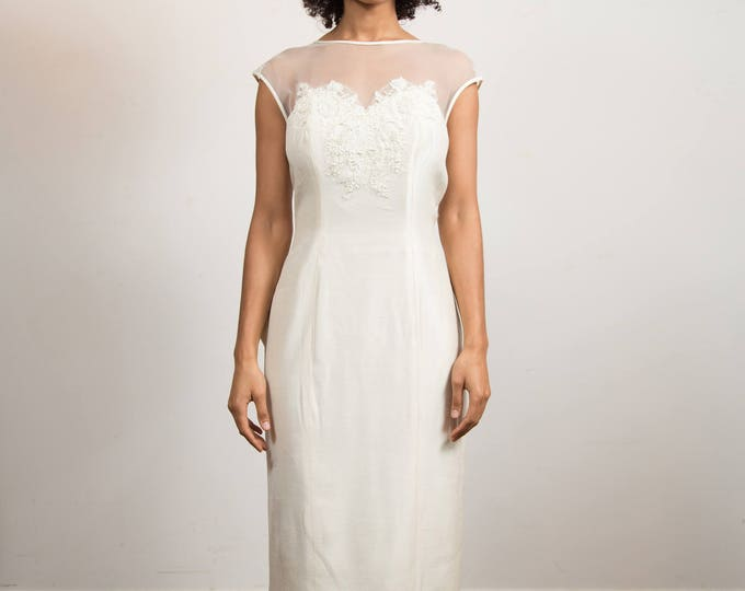 Vintage Wedding Dress - Creamy White Hand Beaded Small Skinny Dress with Lace Shoulders - Alfred Angelo Designer Dress