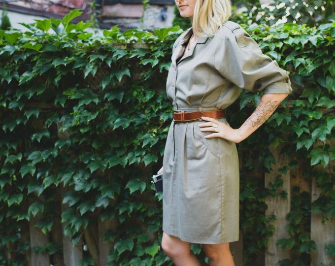 Vintage Safari Jumpsuit /  Pale Army Green Romper / Indiana Jones Outdoor Adventure Dress