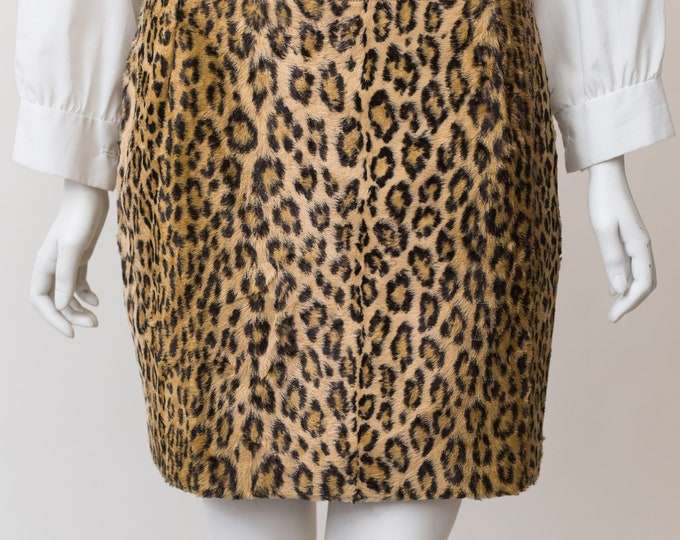 Vintage Cheetah Print Skirt -Soft Stretchy Niedieck Jolinesse Made in Germany Pencil Skirt - Spring Summer Trendy Party Summer Short Skirt