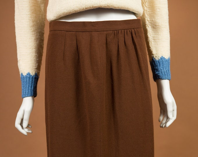 "Vintage Brown Skirt - 30"" Waist Medium Size wool Skirt - Warm Earth tone straight cut Spring or Summer Hippie Office Casual Skirt"