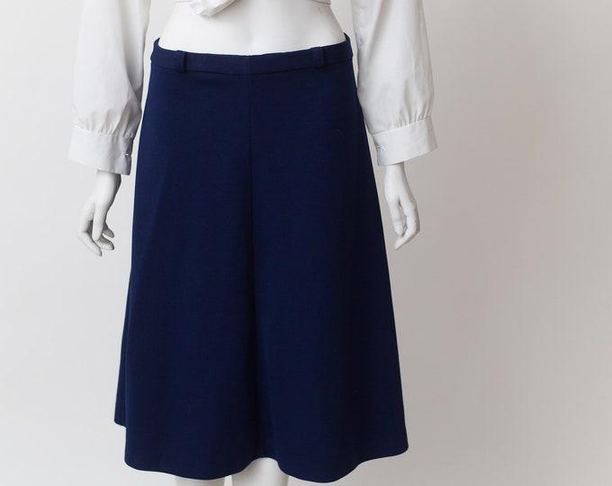 Vintage Blue Skirt - Medium Size Acrylic Skirt - Blue Spring or Summer Hippie Office Casual Skirt