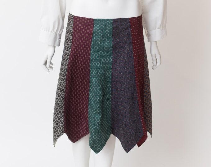 Vintage Pointed Skirt - Multi-pattern Handkerchief Skirt- Spring Summer Hippie Punk Rock Short Broomstick Skirt